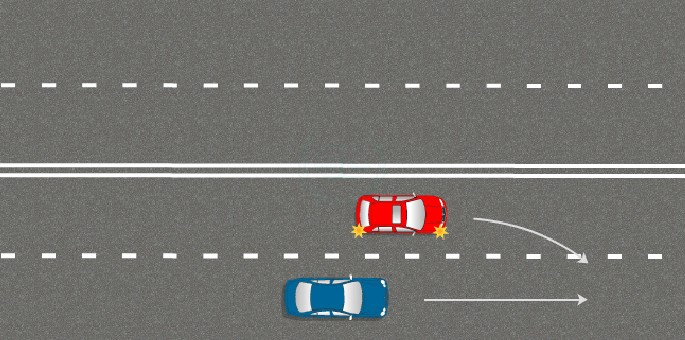 Простое перестроение с обязанностью уступить дорогу