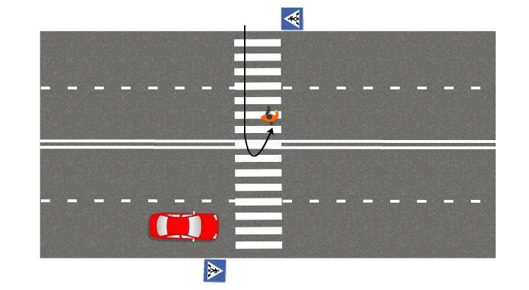 если пешеход изменил траекторию и/или скорость движения по своей инициативе
